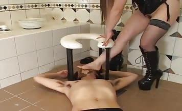 Hot Japanese mistress smears shit on her slave