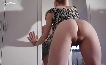 Blonde milf lifts dress to poop