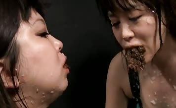 Tasty lesbian scat action