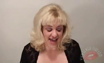 Blonde milf eats shit
