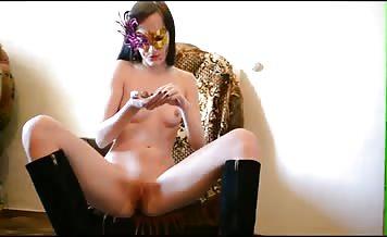 Brunette milf masturbating with poop