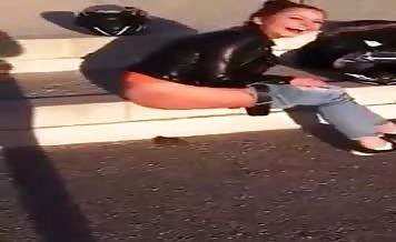 Pretty girl caught shitting in the streets