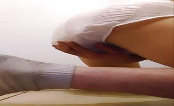 Teen boy shitting in diapers