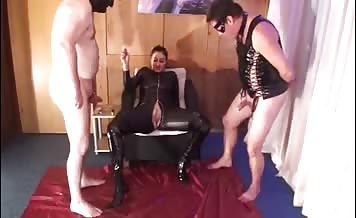Three girls feeding a lucky slave