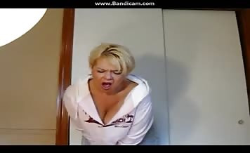 Blonde milf shits in her diapers
