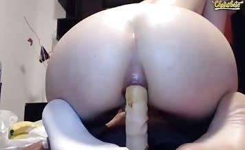 Shitting while riding a dildo
