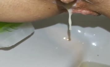 Creampied babe shitting in close up