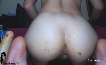 College girl shits on her knees