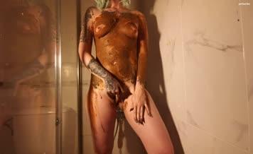 Tattooed college girl smears poop