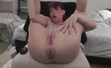 Russian girl spreads her legs wide opened