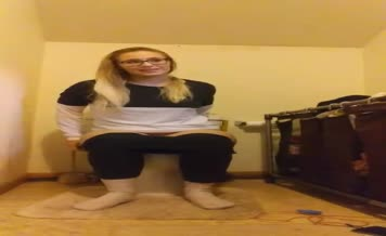 Nerdy blonde teen shitting
