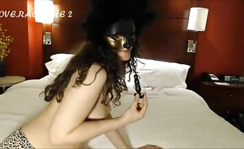 Masked babe tried to eat a big turd
