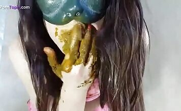 Natural college girl pooping and smearing