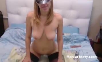 Masked blonde milf smears poop on face