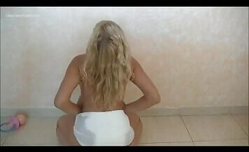 Beautiful blonde shits a loti n panties