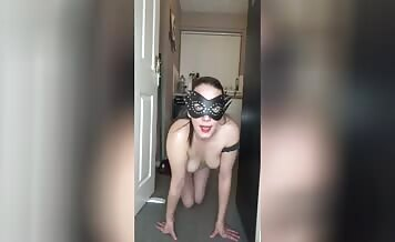 Masked babe smears shit and eats poop