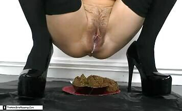 Pierced brunette decides to poop a lot