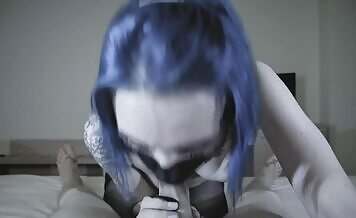Teen with blue hair gives amazing blowjob