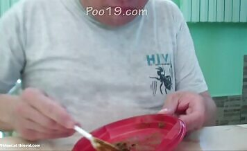 Eating poop from a plate